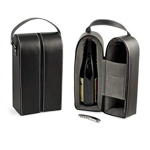 Bey-Berk Leather Wine Bottle Carrier Caddy Travel Tote Bag & Tool Set,Black