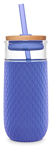 Ello Devon Glass Tumbler with Silicone Sleeve, 20 oz, Denim