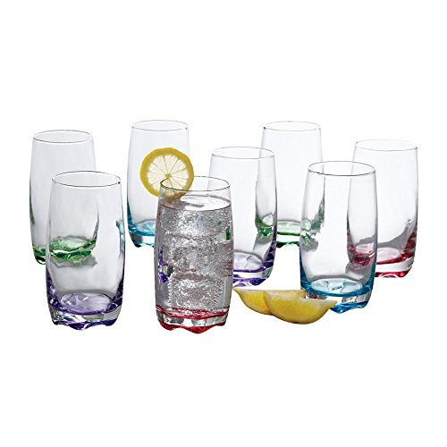 Tumbler Set  by Gibson  8 piece set 4 assorted colors drinking glass set cooler set , Karissa]()
