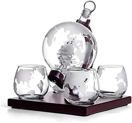 ZYuan Globe Whisky Decanter Glass Set con 4 Gafas Grabadas Globos De Madera Y Whisky Piedras Decanter Set Regalos para Brandy Tequila Bourbon Scotch Whisky Decanter (Size : 1000ML)