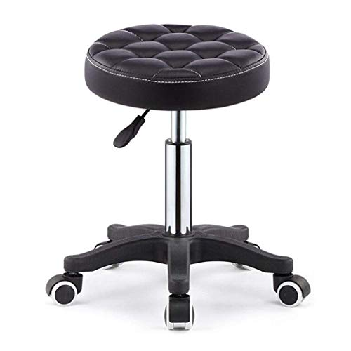 LTOOTA Salon Stool Massage Chair 360 °Pivoting Stool with Rolling Wheels and Hydraulic Height Adjustment for Tattoo Shops, Salons, Drafting, Massage, APL,Black
