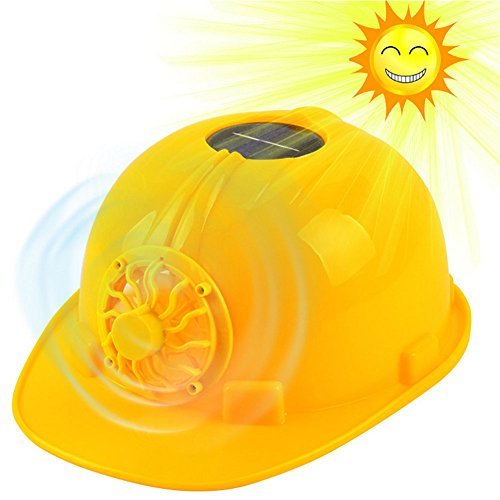 Cool Construction Hard Hat Adjustbale Safety Helmet with Solar Powered Cooling Fan ()