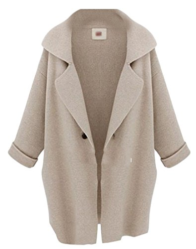 Beige Size Women's Knit M Plus Fashion Sweater Cardigan Notch Collar amp;W amp;S XPwqwgxaF
