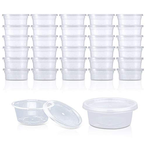30 Pack Small Containers with Lids,Storage Containers,Leakproof Clear Plastic Containers for Slime Foam Beads,Buttons,Pins or Paint (2 Ounce for Each Container)