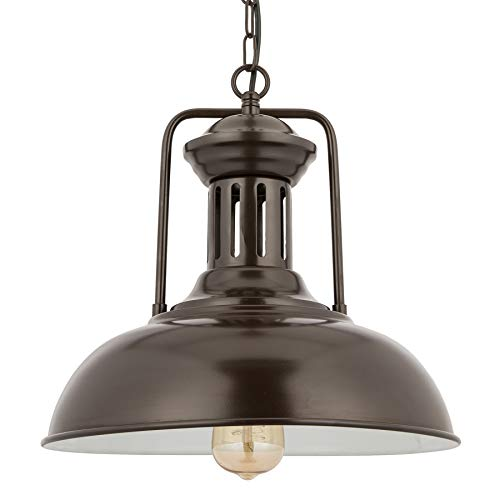 CO-Z Industrial 1-Light Vintage Farmhouse Metal Cage Barn Pendant Light, Hanging Dome/Bowl Ceiling Lighting Fixture for Kitchen Island Table Bars Dining Room, Oil Rubbed Bronze Finish