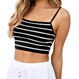 Yougnh Women Sleeveless Casual Stripe Camis Vest Tank Top Loose Top Shirt Blouse Vest for Women Black