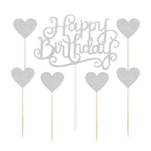 PALASASA Silver glitter Happy Birthday Cake Topper and love star ,Party Event Decorations set of 7