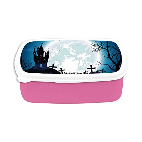 Halloween Decorations Utility Plastic Lunch Containers,Spooky Concept with Scary Icons Old Celtic Harvest Figures in Dark Image for Home,7.09