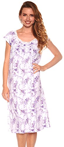 Floopi Womens Nightgown Sleepwear Cotton Pajamas Womans Cap Sleeve Sleep Dress Nightshirt (L, - Nightshirt Womens Print