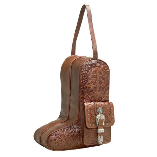 American West Unisex Zip-Around Antique Leather Boot Bag Antique Tan One Size by American West