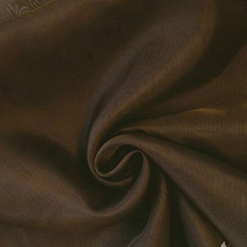 "120"" Wide Sheer Voile Chiffon Fire Retardant Resistant Drapery Fabric (Brown VL-7)"