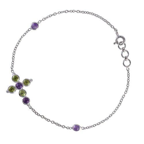 (Mettlle 925 Sterling Silver Amethyst Peridot Cross Chain Gemstone Bracelet for Women )