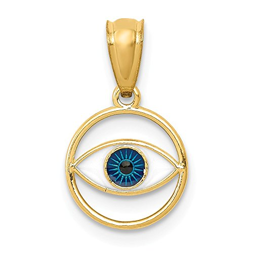 14k Yellow Gold Enameled Eye Pendant Charm Necklace Fine Jewelry Gifts For Women For Her