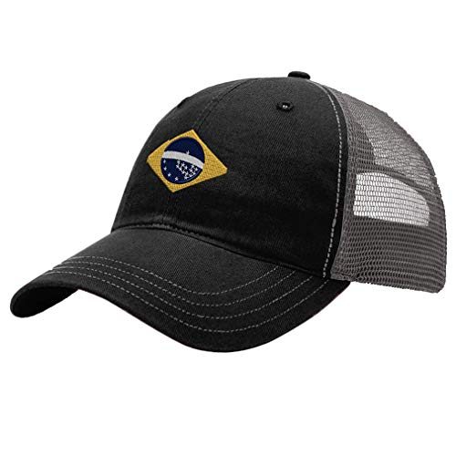 Trucker Hat Richardson Brazil Flag Seal Embroidery Design Cotton Soft Mesh Cap Snaps Black/Charcoal Design Only