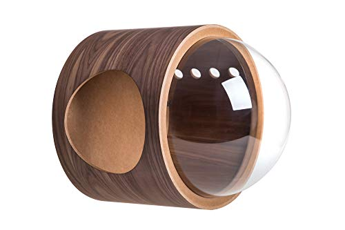 MYZOO Spaceship Gamma: Wall Mounted Cat Bed, Wooden Cat Furniture, Cat Perch, Cat Tree, Cat Shelves (Oak & Walnut)