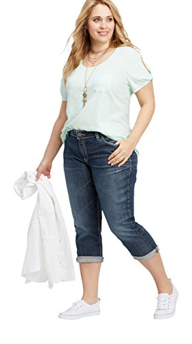 Silver Jeans Co. Womens Plus Size Elyse Relaxed Fit Mid Rise Capri