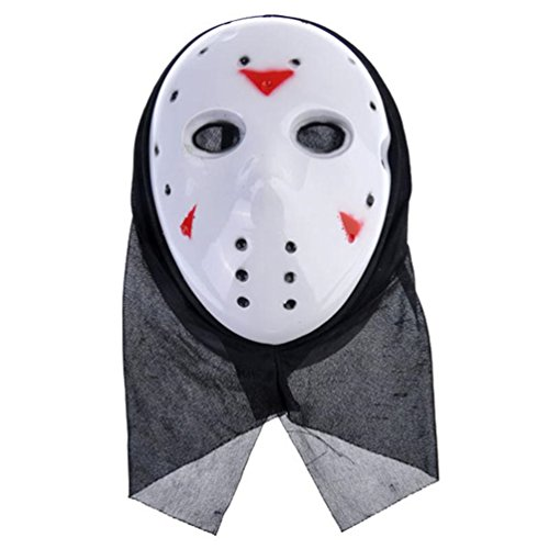 [Gooday Retro Jason X Ninja Cosplay Mask With Black Kerchief for Halloween Masquerade Party (4 pieces)] (Jason X Halloween Costumes)