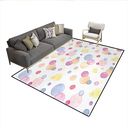 Liquid Wizard Deodorizer (Carpet,Watercolor Texture Liquid Paint Drops Dots Aquarelle Art Style Romantic Colorful,Non Slip Rug Pad,MulticolorSize:5'x6')