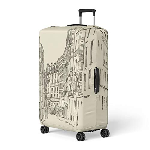 Heritage Canopy Color - Pinbeam Luggage Cover City Streets in Paris France Vintage Engraved Europe Travel Suitcase Cover Protector Baggage Case Fits 26-28 inches