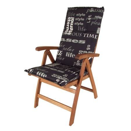 Pflegeleichtes-Polster-fr-Hochlehner-schwarze-Gartenstuhl-Auflage-mit-Haltegurt-Sitzkissen-Stuhlauflage