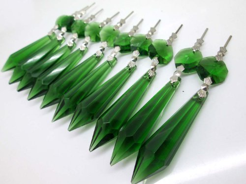 Colourful Beads Glass - Sun Cling Chandelier Icicle Crystal 55mm, Pack of 10 (Green)