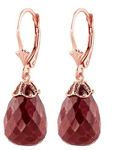 Briolette Ruby Earrings - 14K Rose Gold Natural Briolette Ruby Drop Dangle Earrings