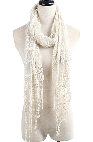 METERDE Women's Gauze Sheer Cutout Crochet Floral Knit Lace Neck Scarf A (Gauze Wool)