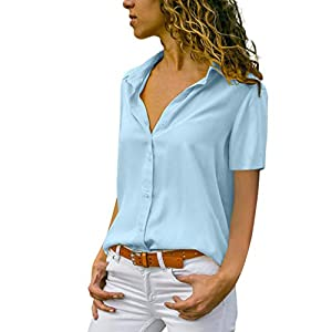 ROCMKL Fashion Womens Chiffon Solid T-Shirt Office Ladies Plain Short Sleeve Blouse Top