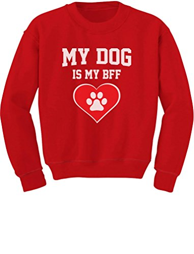 TeeStars - My Dog Is My BFF - Gift for Dog Lovers Youth Kids Sweatshirt Small Red (Save Xmas Children The Jumper)