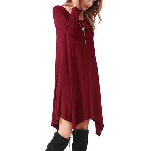 Diamondo Femmes Ourlet Irrégulier O-cou Robe À Manches Longues Couleur Unie Vêtements Talonnage Rouge Vin