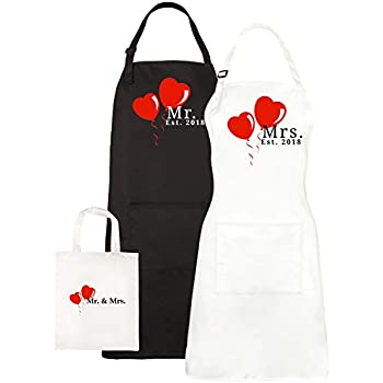 Mr. and Mrs. Aprons Est. 2018, His Hers Wedding Gift For Couples - Bridal Shower Engagement Gift Set - With Pocket and Gift Bag By Let the Fun Begin