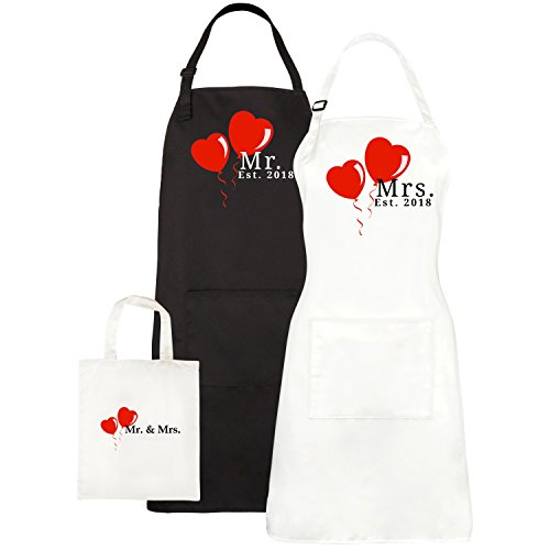Mr. and Mrs. Aprons Est. 2018 - His Hers Wedding Gifts For Couples - Bridal Shower Gift Set - With Pocket and Gift Bag By Let the Fun Begin
