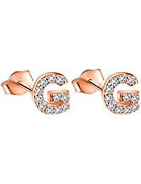 Rose Gold Plated Sterling Silver CZ Initial Letter Stud Earrings Alphabet A-Z