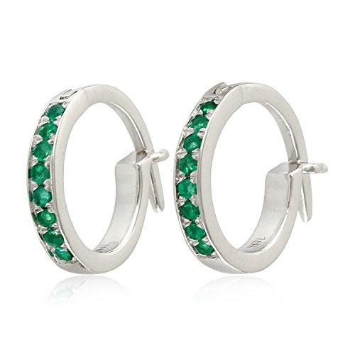 Micropave-Set Emerald Huggie Hoop Earrings in 18K White Gold by Mettlle