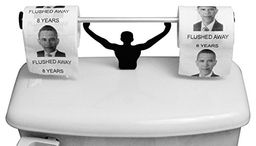 Fairly Odd Novelties FON-10225 Barack Obama 8 Years Flushed Away Toilet Paper W/Strong Man Holder Political Gag Gift Set ()