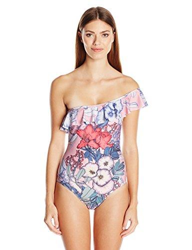MINKPINK Women's Tropical Punch One Shoulder Ruffle One Piece Swimsuit, Multi, S 41mnn4x5ZyL
