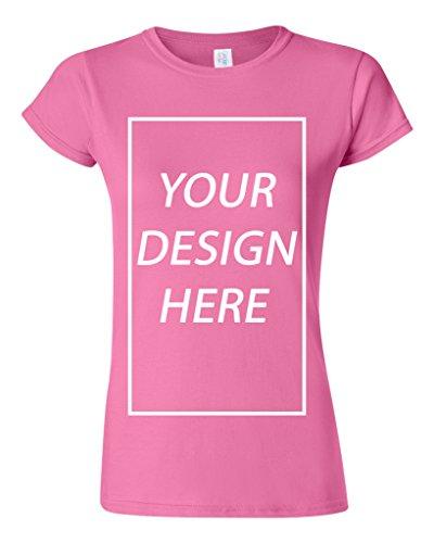 Junior Add Your Own Text Design Custom Personalized T-Shirt Tee (Medium, Azalea) -