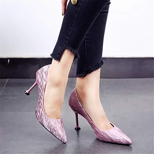 Party Trabajo de Zapatos Temperamento Moda Solo Femenina La Sexy Multa con Banquete Acentuado Tacones Zapatos de YMFIE la Pink Altos el nqPFHzz