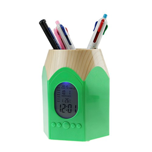 Pen Clock Cup (Pencil Holders,Creative Backlight Electronic Calendar Snooze Alarm Clock Pens Pencil Holder Cup Office Home Desktop Container Organizer Makeup Brush Pot Study Work Stationery Pencil Stand)
