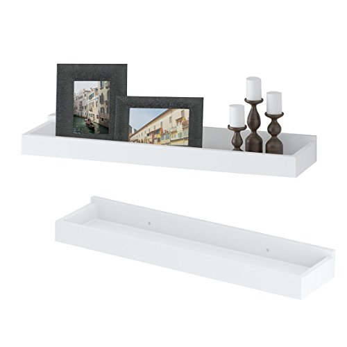 Modern Home White Floating Tray Wall Wedge Shelf 24 X 6 Inch Set of (Modern Floating Shelf)
