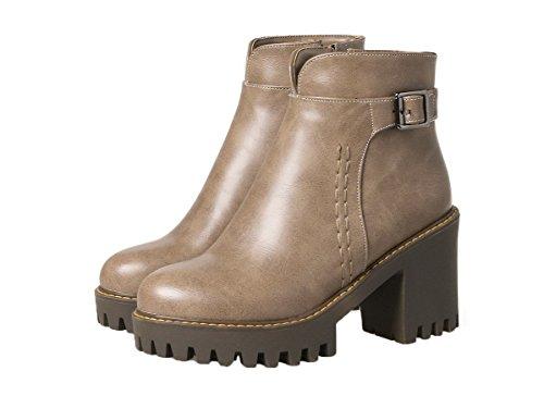 Tacón Alto Botas Cremallera Puntera AgeeMi Sólido Shoes Cerrada Mujeres Caqui PU wnpnaSZqX