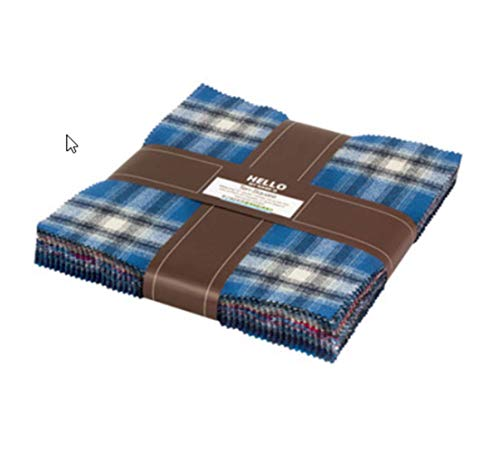 Kaufman 10'' Square Mammoth Flannel Blue 42 pcs.