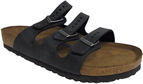 (Birkenstock Women's Florida Soft Footbed Sandal Black Oiled Leather Size 38 M)