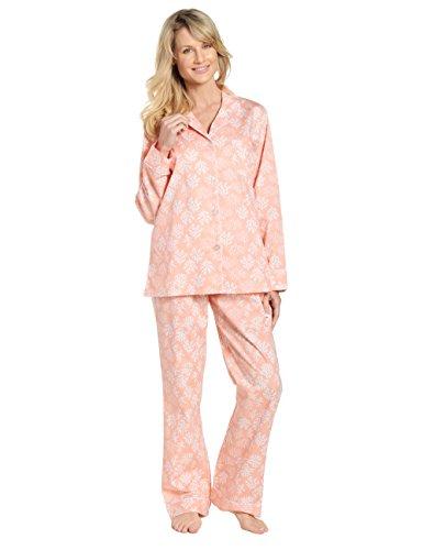 Noble Mount Womens 100% Cotton Poplin Pajama Sleepwear Set - Corals Peach - -