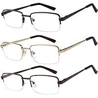 Reading Glasses Set of 3 Half Rim Metal Glasses for Reading Quality Spring Hinge Readers Men and Women +2.5