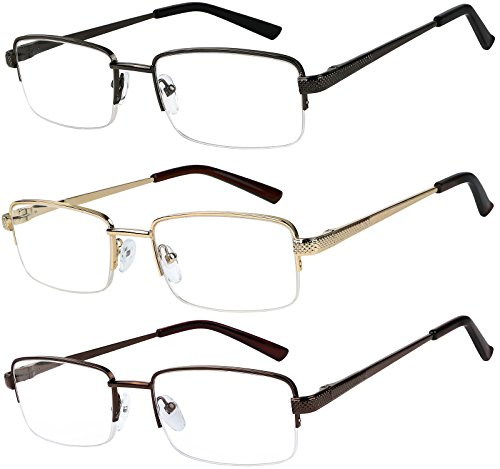 Reading Glasses Set of 3 Half Rim Metal Glasses for Reading Quality Spring Hinge Readers Men and Women ()