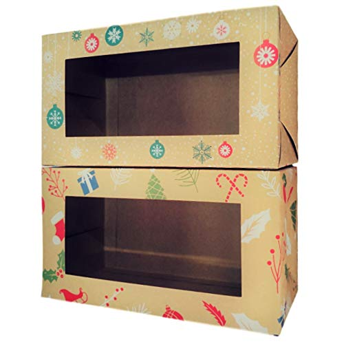 """Cook's Fancy Bakery Gift Box Set for Cookies, Cupcakes, Donuts, Loaf Cake and Sweet Treats - 2 Holiday Designs (Pack of 12), Clear Top Window, Size - 9""""x5""""x4.5"""""""