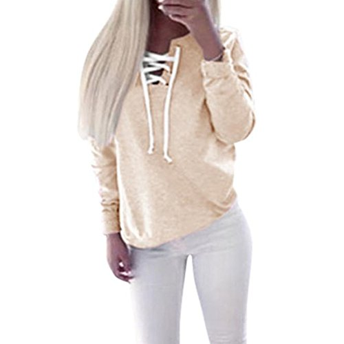 Pullover Sweatshirt, Misaky Women Autumn Long Sleeve Lace-up Tops Blouse (M, Khaki) (Waterfall Switchback)