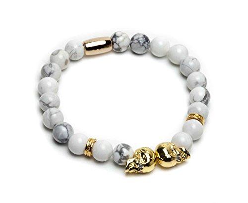 ZENGER 18kt Gold Double Skull Beaded Bracelet (White Howlite)
