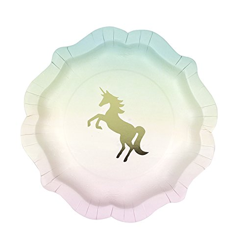 Talking Tables We Heart Unicorns Small Ombre Plates, 12 count, with Gold Foil Detail for a Children's Party or Birthday Party (Shiny Gold Plate)